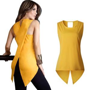 LOSSKY 2017 Summer New Fashion T Shirt Women Back Cross Sexy Lady Sleeveless O-neck Slim Dovetail T-shirt Plus Size Long Tops