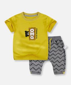 2018 جديد ملابس الطفل الطفل الصيف قصيرة الأكمام البدلة الأولاد 2 سنة مجموعتين من المد