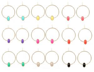 La moda KS Kendra New Oval Faceted Resin Big Hoop cuelga la joyería del pendiente para las mujeres