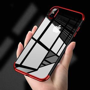 Custodia morbida in TPU per iPhone X Xr Xs Max 8 7 6 6S Custodie Plus Custodia ultra sottile trasparente placcatura lucida per iPhone Xs Cover posteriore in silicone misto