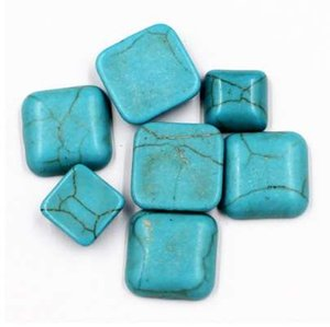 Kakee Square Charms espalda plana Natural Gem Stone Anillos Cabochon Turquesa Cuentas para hacer joyas DIY Handmade Accessories
