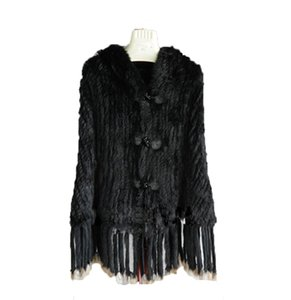 Women Real Rabbit Fur Tightly Knitted Cape Hooded with Tassels Poncho Outwear Coat