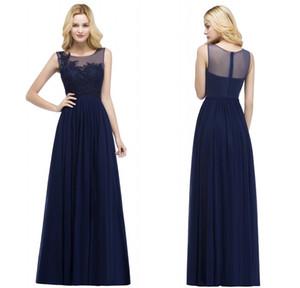2018 новый дизайнер темно-синий длинные вечерние платья Sheer шеи кружева аппликация формальный Пром партии театрализованное платья CPS899