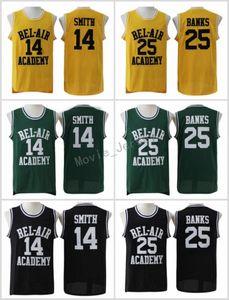 Taze Bel-Havanın Taze Prensi Dikişli # 14 Smith Jersey Bel-Hava Akademisi Film Sürümü Jersey # 25 Carlton Bankalar Formalar Siyah Yeşil Sarı