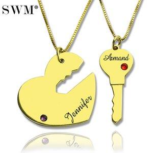 Парные подвески Пара ключ к и ожерелье сердца Пользовательские Имя ожерелья Кристалл камень Collares Золотой цвет Подвеска Choker Bijoux