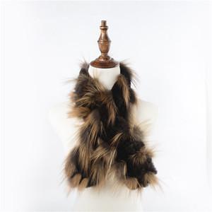 2018 Nouvelle Arrivée Réel Rex De Fourrure De Lapin Réel De Fourrure De Renard Écharpe De Femmes De Mode Style Châles Automne Hiver Silencieux