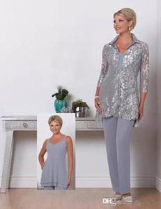 2018 Silber Three Piece Mutter der Braut Pant Suits mit Spitze Jacken mit langen Ärmeln Chiffon Plus Size Hochzeit Gast Mutter Kleider