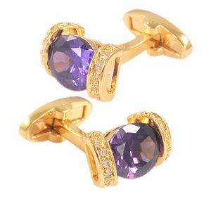 SAVOYSHI Luxury Purple Crystal Bottons for Mens With Box Shirt Bottons Party Wedding Accessories Gemelos Gold Abotoaduras Jewelry