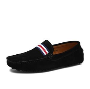 Erkekler Rahat Inek Deri Loafer'lar Siyah Katı Deri Sürüş Moccasins Gommino Erkekler Loafers Ayakkabı Erkek Loafers Slip