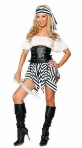 Nuovo costume sexy della biancheria di trasporto libero Costume femminile del pirata dei costumi di Halloween Costume Cosplay del costume del pirata del partito di Halloween