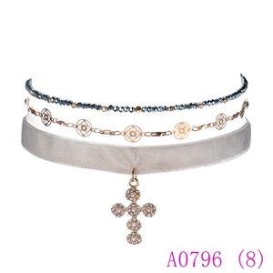 3pcs moda donna strass croce pendenti in stile gotico velluto colar choker neckalces gioielli collier femme a0796