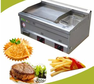 Gas Griddle with Fryer Commercial Gas Griddle Stainless Steel Deep Fryer Gas Potato Chips Fryer Machine LLFA