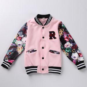Jaqueta de beisebol do bebê Crianças Meninas Roupas Treino Crianças menina roupas de inverno Moda primavera flor jaqueta Casaco de desporto 2 cores