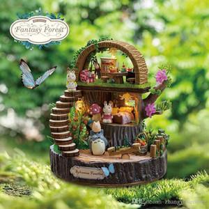 Los más nuevos muebles de casa de muñecas Diy Miniatura 3D Casa de muñecas de madera en miniatura Juguetes para niños Regalos de cumpleaños Fantasy Forest Y005