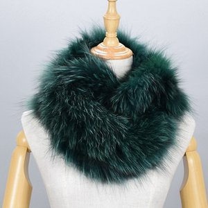 100% Natural Fur Shawl Luxury Silver  Fur Collar Scarf Women Real  Collars Down Wear Scarf Wholesale