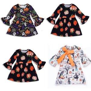 Meninas do dia das bruxas do bebê vestido de manga Longa crianças abóbora spider print vestidos de princesa 2018 moda outono crianças clothing 3 estilos c4991