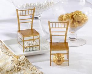 Home Casamentos Eventos Wedding Supplies Favor Holders Detalhe do Produto 200pcs Gold Chair PVC Transparente Candy Box Favor Gift Box Weddin