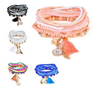 Estilo bohemio estrellas Charms Beads pulseras para mujeres Boho borla de múltiples capas pulsera de pera simulada KKA1692