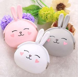 longmiao 여성 귀여운 토끼 만화 실리콘 동전 지갑 작은 미니 키 이어폰 저장 가방 지갑 동전 가방 어린이 아이 선물