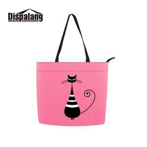 Dispalang Durable ECO Llevar Embalaje Reutilizable Shopping Bag Girls 2019 Venta caliente Plegable Poliéster Tote Custom Cartoon Cat Photo