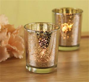 현대 미니멀리즘 유리 촛대 은색 빛 골드 캔들 홀더 바 서양 식당 장식품 2 5 bd gg