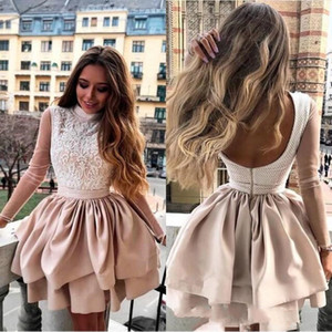 Lovely Pink A line short prom Homecoming Dresses Hight Neck Long Sleeves Zipper Short Mini Length Party cocktail Dresses