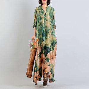 Johnature 2018 Bahar Yeni Ipek Baskı Kadın Elbiseler Vintage Moda Yüksek Kalite Gevşek Standı Yaka Düzensiz Uzun Elbiseler