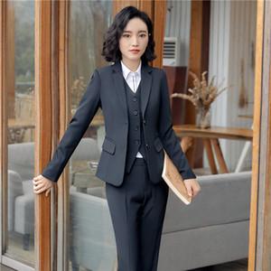 Diseños formales uniformes Trajes de chaqueta de trabajo con chaquetas de 3 piezas + chaleco + falda / pantalón para damas chaleco de oficina Chaleco Uniformes 3pcs