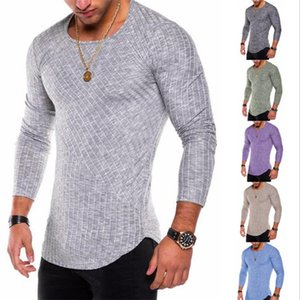 Men's Round Neck Solid Color Long-sleeved T-shirt Pits Solid Color Stitching Men's T-shirt Long Hem Arc Slim T-shirt