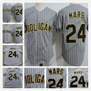 Hot Sale Bruno Mars # 24K Hooligans Baseball Jersey Grey Pinstripe Weiß genähtes Doo-Wops Sänger Bruno Mars 24K Magic Button Up Shirts