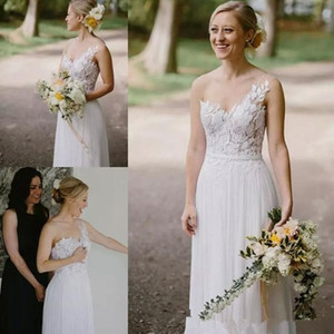 2018 Boho Beach Wedding Dresses A Line One Shoulder Floor Length Bridal Gowns With Lace Chiffon Plus Size Wedding Gowns