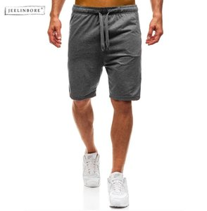 JEELINBORE 2018 New Summer Man's Casual Solid Color Cotton Shorts For Men Bodybuilding Short Trousers Middle Waist Sweatpants