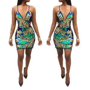 여성 섹시한 파티 드레스 클럽 이브닝 골드 Sequined Design Bodycon Dresses Christmas