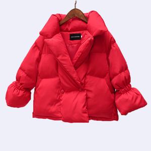 WERTUIOP 2018 Novo Inverno Mulheres Jaqueta Casaco Vermelho Algodão Acolchoado Jaqueta de Chifre Curto Mangas Roupas Femininas Outerwear Senhora roupas