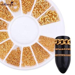 Monja 5/10 / 20cm Nail Line Gold Cadenas huecas Striping Manicure Mixed Size 3D Metal Nail Art Decorations