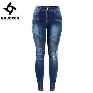 2077 Youaxon kadın Motosiklet Biker Zip Orta Kadınlar Için Yüksek Bel Streç Denim Sıska Pantolon Motor Kot S18101601