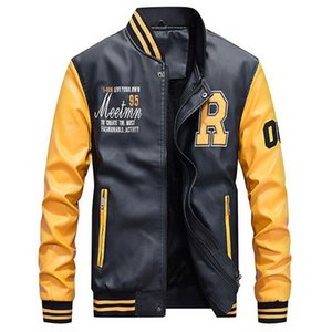 Motorcycle Leather Jacket Men College  Fleece Baseball Bomber Jackets Faux Leather Coats Mens Winter Pilot Bomber Jacket
