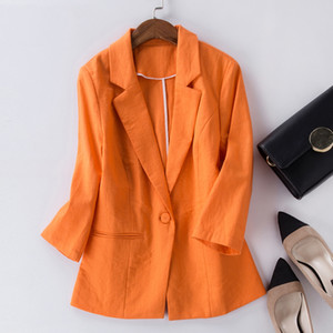 Blazer Femenino Feminino Plus Size 2XL Chaqueta Formal Mujer Blaser Femenino Azul Mujeres Cotton Linen Traje Office Ladies Jacke
