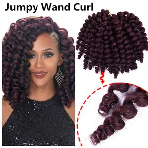 Beauty Fashion 8 inch Ombre Jumpy Wand Curl Crochet Braids 22 Roots Jamaican Bounce Synthetic Crochet Hair Extension for Black Women