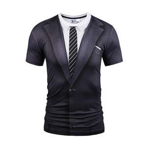 Hot New Style Casual Men 3D Tie Printing T Shirt Short Sleeve Tattoo Black Suit Digital Printing Summer Tops