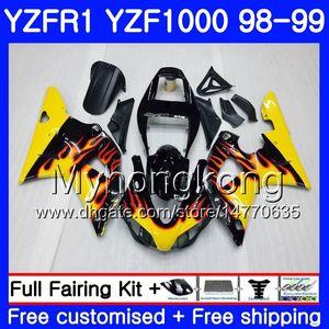 Fiamme gialle Carrozzeria per YAMAHA YZF R 1 YZF1000 YZF-R1 1998 1999 Telaio 235HM.25 YZF-1000 YZF R1 98 99 YZF 1000 YZFR1 98 99 Carena