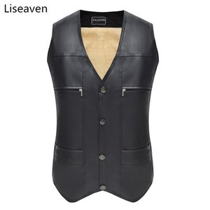 Liseaven otoño invierno cálido chaqueta sin mangas chaleco PU chaleco de cuero de los hombres de moda abrigos casuales para hombre