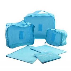 6PCS / Set Custodia da viaggio Tidy Storage Bag Box Bagagli Valigia Pouch Bra Cosmetics Underwear Waterproof Organizer Container