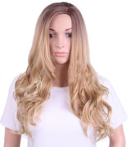 Nuevas pelucas sintetizadas elegantes de la onda del cuerpo Peluca sintética hecha a máquina de alta temperatura de la fibra para la señora o las mujeres europeas americanas ninguna peluca del cordón