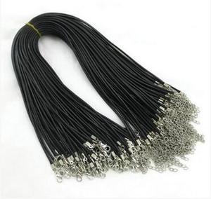 45 cm de Cera Preta Corda De Couro De Cobra Cord Cordão Corda Fio Extensor Cadeia com Fecho Da Lagosta DIY Correntes de Moda componente de jóias
