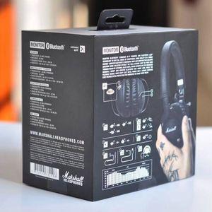 Marshall Monitor Bluetooth Auriculares plegables con micrófono de cuero Cancelación de ruido Auriculares estéreo de graves profundos Monitor de DJ Hi-Fi para auriculares Phon
