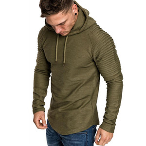 Ragan Sleeve Hooded Men Camiseta playera manga larga Hombres Longline Curved Hem Hip Hop Slim Tshirt Streetwear Tops