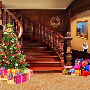 Scale per interni Buon Natale Foto di sfondo Scatole attuali stampate Decorate Albero di Natale Bambini Feste Famiglia Fondali Fotografia