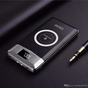 Qi Fast Wireless Charger 10000mAh Travel Power Bank Dual USB LCD Exteranl аккумулятор зарядное устройство для мобильного телефона для iphone android