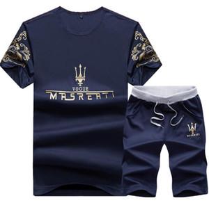 Conjunto de ropa deportiva casual de verano para hombre 2018 Nueva carta de manga corta camiseta de verano pantalones cortos pantalones envío gratuito